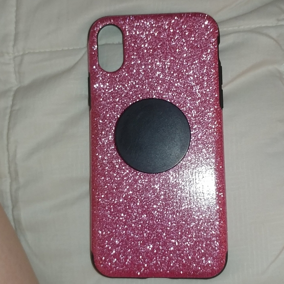 Accessories - Pink rubberized case for iPhone xs with popsocket